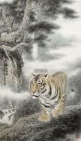 伏虎图 镜框 设色纸本 - 6313 - 中国书画 - 2011秋季艺术品拍卖会 -收藏网