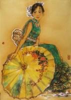 重彩人物 卡纸 设色纸本 - 4695 - 当代书画名家精品专场 - 2008春季拍卖会 -收藏网