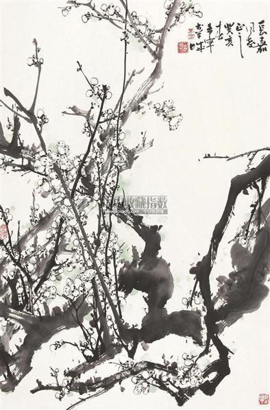 白梅 镜心 水墨纸本 - 128053 - 中国书画(二)—香雪梅魂·于希宁保真专场 - 2011春季艺术品拍卖会 -收藏网