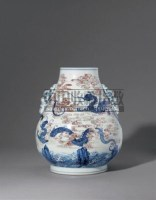 PERIOD OF YONGZHENG AN EXTREMELY RARE UNDERGLAZE-BLUE AND COPPER-RED 'QILONG' VASE, HU -  - Qing Porcelain and Works of Art from a Private Col - 2007年秋季拍卖会 -收藏网