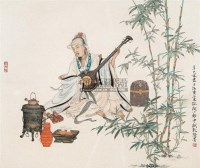 抚琴图 镜心 纸本设色 - 118502 - 中国书画 - 2005年春季拍卖会 -收藏网