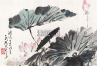 荷花 镜片 - 张义潜 - 中国书画 - 2011年首屇艺术品拍卖会 -中国收藏网