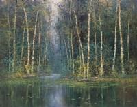 施福国  林中池塘 布上油画 - 11755 - 中国西画 - 2006秋季拍卖会 -收藏网