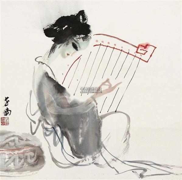 仕女 镜片 设色纸本 - 116212 - 中国书画(二) - 2012迎春艺术品拍卖会 -收藏网