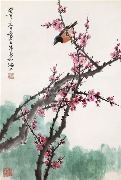 花鸟 立轴 设色纸本 - 2724 - 中国书画(一) - 2011年夏季拍卖会 -收藏网