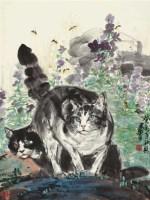 双狸舞蜂 镜片 设色纸本 - 黄胄 - 中国书画(一) - 2011年秋季艺术品拍卖会 -收藏网