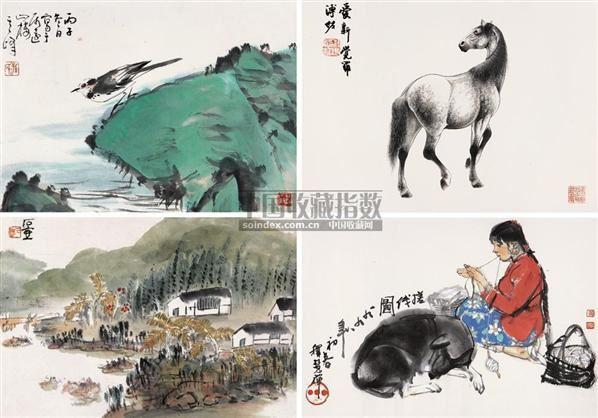 人物花鸟集锦 镜心 纸本 - - 中国近现代书画(上) - 北京长风2008秋