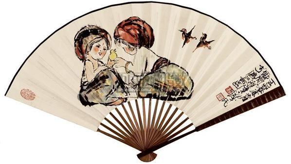 程十发 人物 成扇 - 116015 - 中国书画 - 2007年秋季艺术品拍卖会 -收藏网