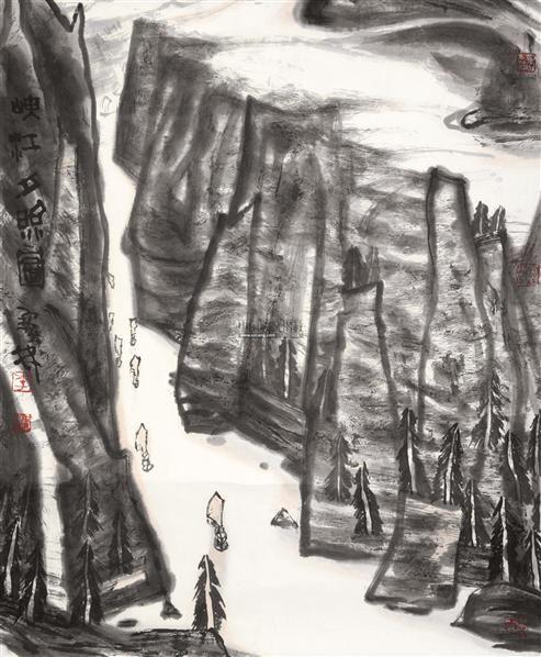 峡江夕照图 镜片 设色纸本 - 130599 - 中国书画(一) - 五周年秋季拍卖会 -收藏网