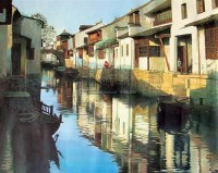油画周庄 油画 框 - 16074 - 油画 中国书画 杂项 - 2008欢乐节艺术品拍卖会 -中国收藏网