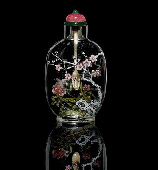 水晶花卉图鼻烟壶 -  - 中国瓷器工艺品 - 2009秋季拍卖会(一) -收藏网