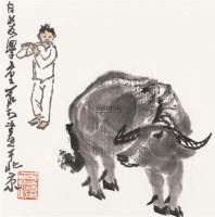 牧牛图 镜框 设色纸本 - 139817 - 中国书画(一) - 2011年金秋精品书画拍卖会 -收藏网