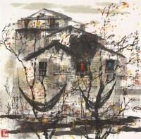 水乡 立轴 纸本 - 119523 - 保真作品专题 - 2011春季书画拍卖会 -收藏网