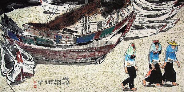 金兰姐妹 镜心 设色纸本 - 133499 - 中国油画 闽籍书画 中国书画 - 2008秋季艺术品拍卖会 -收藏网
