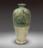 绿釉褐彩弦纹梅瓶 -  - 瓷器 - 2011中博香港大型艺术品拍卖会 -中国收藏网
