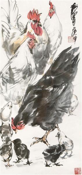 公鸡 镜框 设色纸本 - 7693 - 中国书画(一) - 五周年秋季拍卖会 -收藏网