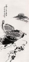 双鹰图 立轴 水墨纸本 - 吴天墀 - 中国书画 - 2005年艺术品拍卖会 -收藏网