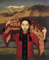 西北的云(又名《红头巾》) 布面油彩 - 2490 - 中国油画(一) - 2006年中国艺术品春季拍卖会 -收藏网