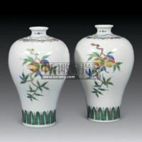 五彩福寿瓶 (一对) -  - 艺术品 - 2011年春季拍卖会(329期) -收藏网