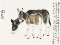 双驴图 镜片 设色纸本 - 117202 - 中国书画一 - 2011秋季书画专场拍卖会 -收藏网