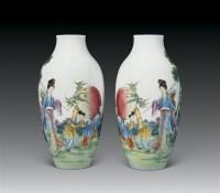 民国 粉彩麻姑献寿瓶 (一对) -  - 瓷器雅玩艺术品 - 2007春拍瓷器雅玩家具拍卖 -收藏网