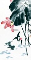 红荷双蛙 立轴 纸本 - 2960 - 中国书画(一) - 2011首届秋季艺术品拍卖会 -收藏网