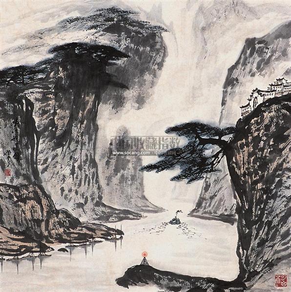 山水 立轴 设色纸本 - 129692 - 中国书画 - 2005年艺术品拍卖会 -收藏网