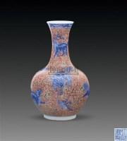 矾红地青花神兽纹撇口瓶 -  - 古董珍玩 - 2011春季艺术品拍卖会 -收藏网