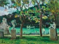 公园里的雕像 油彩 画布 - 128876 - 现代与当代艺术 - 2011台北秋季拍卖会 -中国收藏网