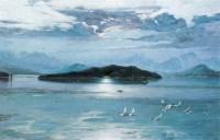 日月潭畔 布面 油画 - 王路 - 中国现当代艺术 - 2007迎春拍卖会 -收藏网