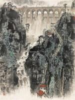 坝上新绿 镜框 设色纸本 - 宋文治 - 中国书画(一)•红色记忆•小品、扇画 - 沧海明珠•常州沧海2011首届艺术品拍卖会 -收藏网