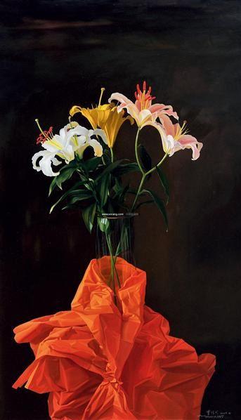 百合花 布面油画 - 156172 - 中国油画专场 - 2011年秋季拍卖会 -收藏网
