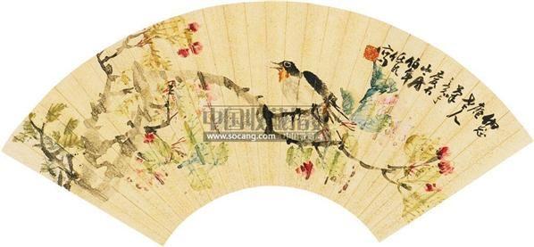 花鸟 扇面 设色泥金 - 6106 - 中国书画(一) - 2010秋季艺术品拍卖会 -收藏网