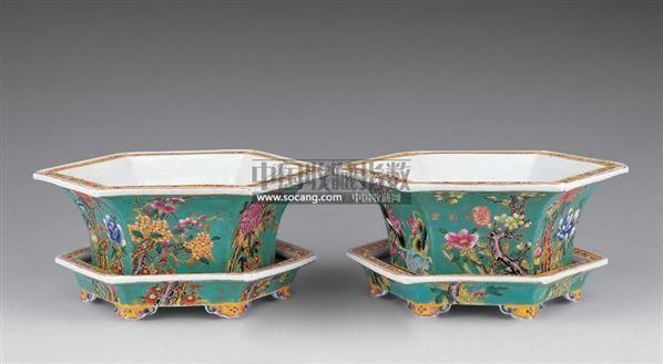 永庆长春款五彩花盆 (一对) -  - 瓷器 玉器 杂项 - 2006年夏季拍卖会 -收藏网