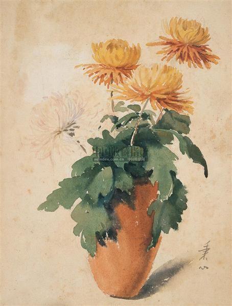 花卉 纸上  水彩 - 141111 - 西洋美术专场 - 2005年春季艺术品拍卖会 -收藏网
