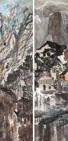 古城风景 (二幅) 立轴 - 徐 希 - 中国书画 - 2011年春季艺术品拍卖会 -中国收藏网