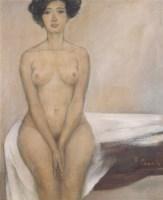 就这样夹着腿  布面 油画 - 雷双 - 中国油画(二)学院专场 - 2007春季大型艺术品拍卖会 -中国收藏网