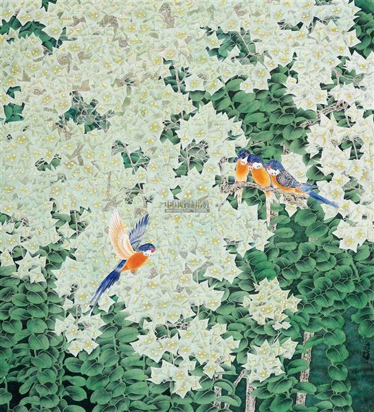 花鸟 镜片 设色纸本 - 119040 - 岭南名家书画 - 2011秋季艺术品拍卖会 -收藏网