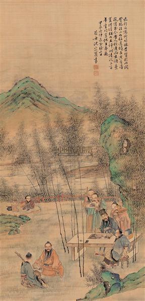 竹林七贤 立轴 设色绢本 - 17579 - 中国古代书画 - 2005春季艺术品