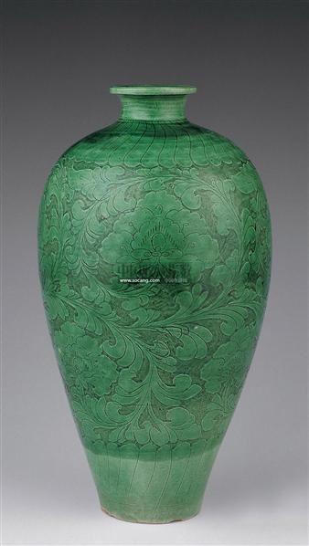 磁州窑绿釉缠枝牡丹梅瓶 -  - 瓷器 玉器 杂项 - 2006年夏季拍卖会 -收藏网