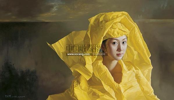 黄纸新娘•雾湖 布面 油画 - 156172 - 中国油画 版画 雕塑 - 2011年夏季拍卖会 -收藏网