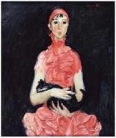 张继鹏 2007年1月作 女孩与黑猫 -  - 油画暨雕塑 - 2007年秋季艺术品拍卖会 -收藏网