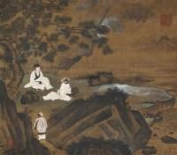 松下高士图 立轴 设色绢本 -  - 成扇 小品 册页专场 - 2011年首届艺术品拍卖会 -中国收藏网