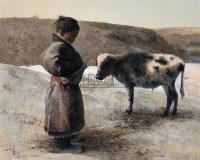 初犊孺子 布面油画 - 119145 - 中国油画 - 2005秋季大型艺术品拍卖会 -收藏网