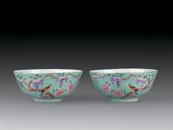 绿地粉彩花鸟纹碗 (一对) -  - 瓷器杂项 - 2007迎新艺术品拍卖会 -中国收藏网