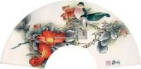 工笔花鸟 扇片 设色纸本 - 121332 - 中国油画 闽籍书画 中国书画 - 2008秋季艺术品拍卖会 -收藏网