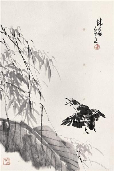 卢坤峰 蕉竹飞雀 立轴 水墨纸本 - 123368 - 中国书画(一) - 2006秋季艺术品拍卖会 -收藏网