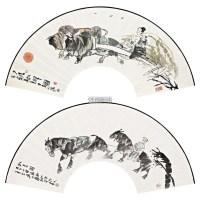 扇面 (两帧) 镜框 设色纸本 - 117681 - 名家作品(一) - 第16届广州国际艺术博览会名家作品拍卖会 -中国收藏网