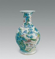 粉彩山水瓶 -  - 古董珍玩专场 - 2008首届秋季大型古玩书画拍卖会 -收藏网
