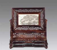 象牙雕阿房宫酸枝插屏 -  - 陶瓷古玩 - 2011年古今夏季艺术品拍卖会 -中国收藏网